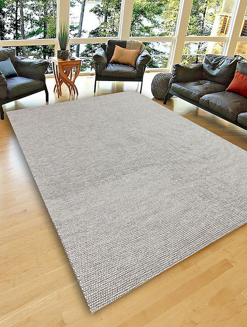 Light Grey Hand Woven Flat Weave Wool And Viscose Rug Online At Jaypore Com