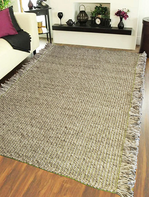 Green And Grey Hand Woven Flat Weave Wool Viscose Rug L 8ft W 5ft Online At Jaypore Com