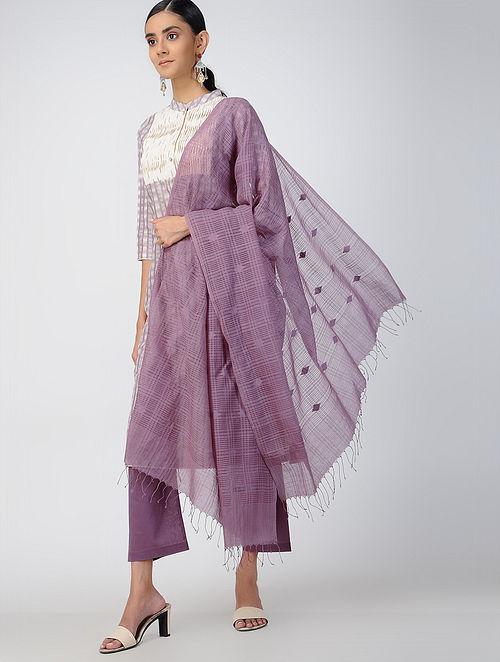 Purple Handloom Cotton Silk Stole