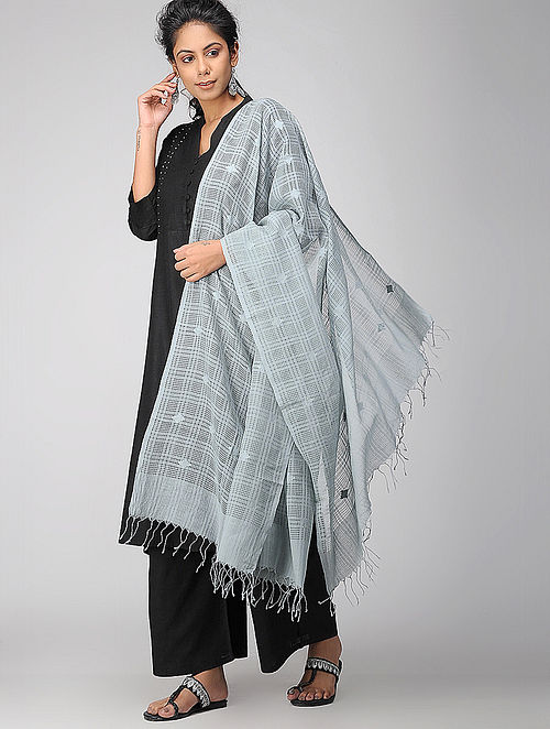 Blue Handloom Cotton Silk Stole
