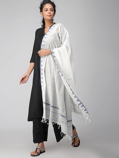 Ivory-Blue Handloom Cotton Stole