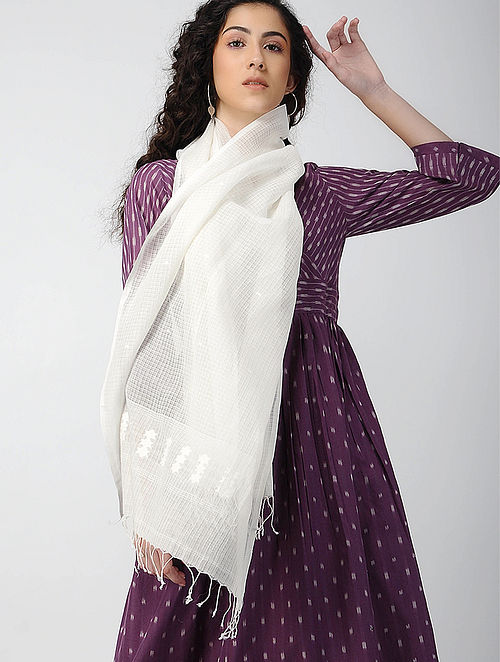 Ivory Handloom Cotton Silk Stole