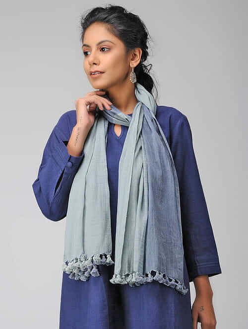 Blue Handloom Cotton Stole with Tassels