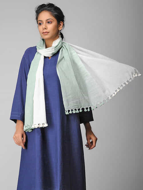 Ivory-Green Handloom Cotton Stole with Tassels