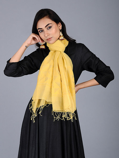 Yellow Handloom Jamdani Cotton Stole