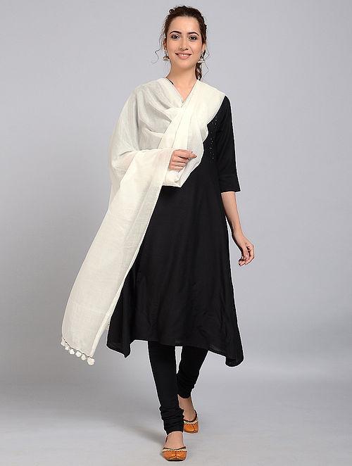 Ivory Handloom Silk-Cotton Dupatta with Tassels
