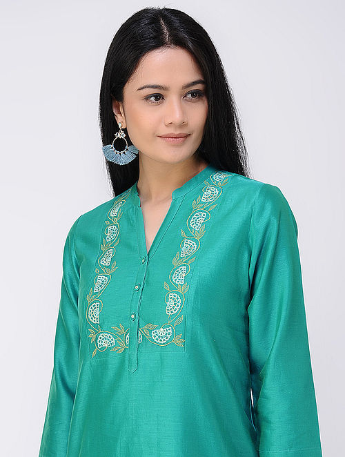 Teal Embroidered Cotton-silk Tunic