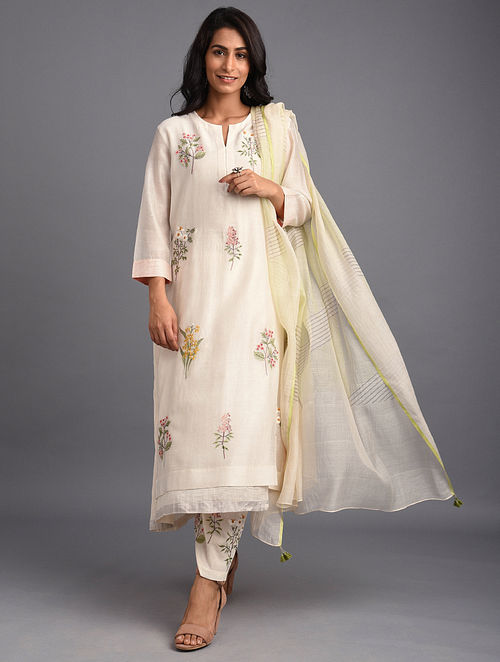 Natural Embroidered Chanderi Kurta with Cotton Lining