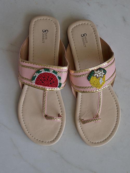 Pink Handcrafted Kolhapuri Flats