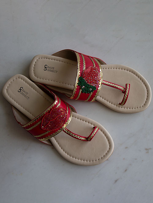 Red-Multicolored Handcrafted Kolhapuri Flats