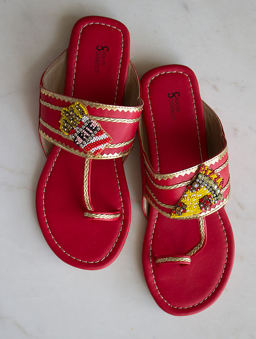 Red Handcrafted Kolhapuri Flats