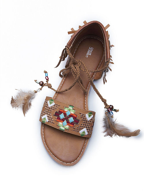 Multicolored Tan Leather Sandals