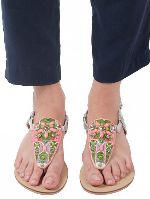 Pink Green Handcrafted Leather Sandals