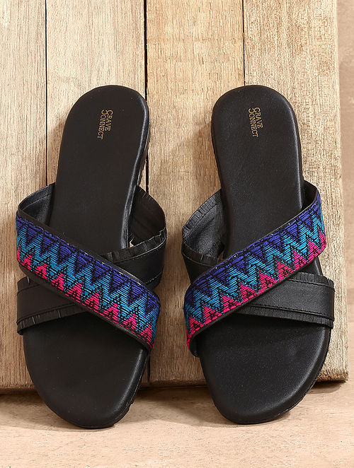 Black Multicolored Handcrafted Leather Flats
