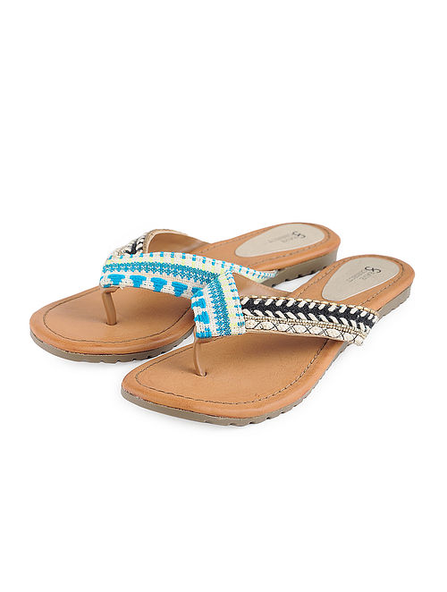 Blue-Beige Jacquard and Leather Flats