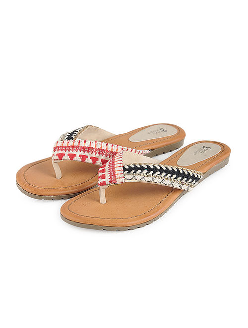 Red-Beige Jacquard and Leather Flats