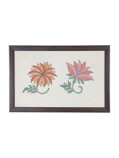 Pink -Orange Marigold Embroidered Wall Art on Silk - 14.6 in x 9.7 in