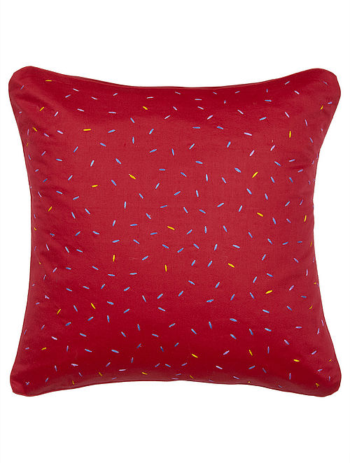 Red Tussar Silk Chawal Embroidered Cushion Cover 16in x 16in