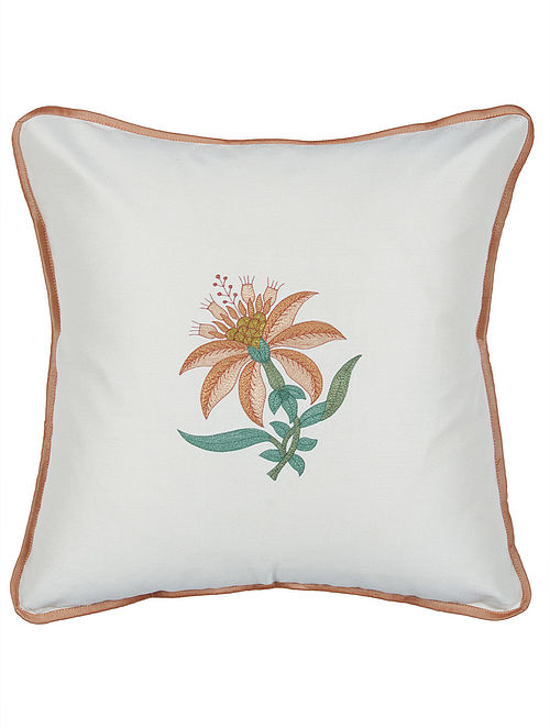 Off White-Brown Silk Floral Embroidered Cushion Cover 16in x 16in