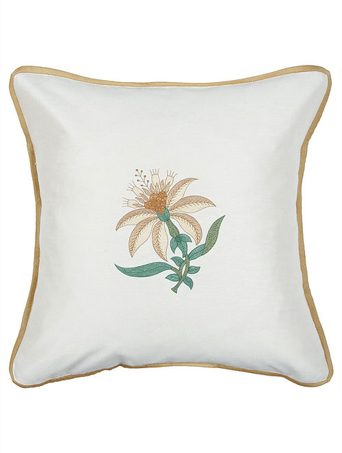 Off White-Beige Tussar Silk Floral Embroidered Cushion Cover 16in x 16in
