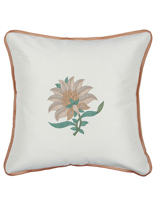 Off White-Rust Tussar Silk Floral Embroidered Cushion Cover 16in x 16in