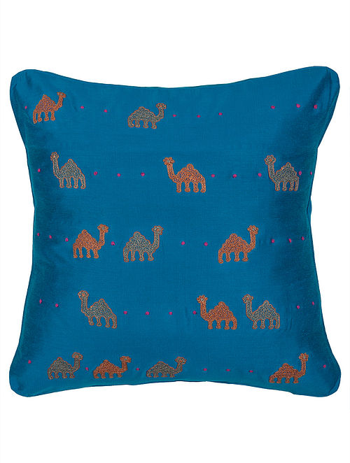 Navy Blue Tussar Silk Camel Embroidered Cushion Cover 16in x 16in
