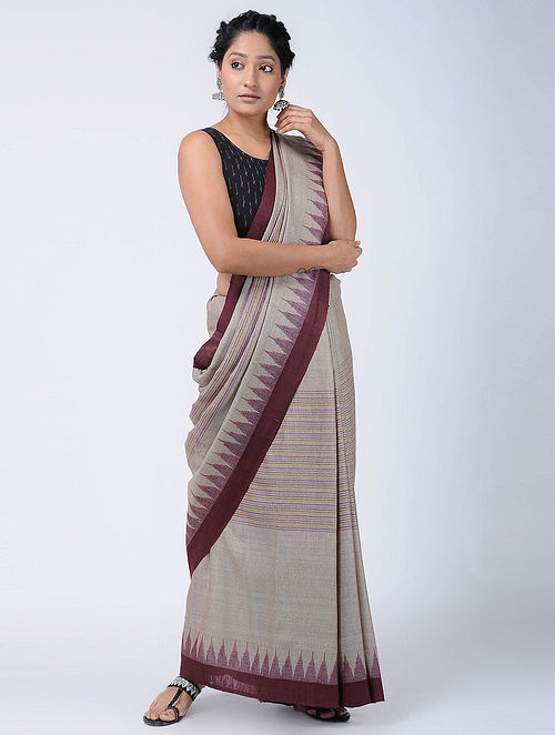 50b91e1b1a Buy Ivory-Maroon Sambalpuri Ikat Tussar Silk Saree Online at Jaypore ...