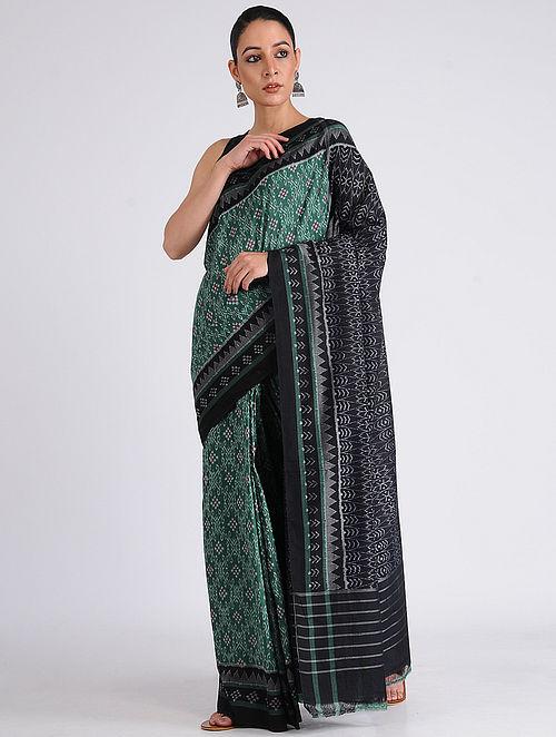 04ee1ba27d Buy Green-Black Sambalpuri Ikat Cotton Saree Online at Jaypore.com