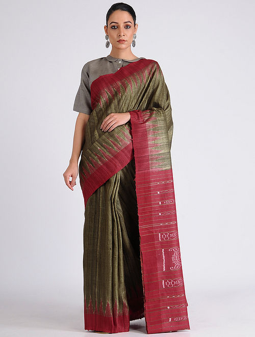 c239a4b8e9 Buy Olive-Red Sambalpuri Ikat Tussar Ghicha Silk Saree Online at ...