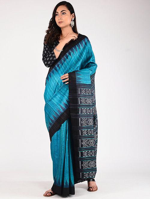 acc79eac2d Buy Blue Sambalpuri Ikat Tussar Ghicha Silk Saree Online at Jaypore ...