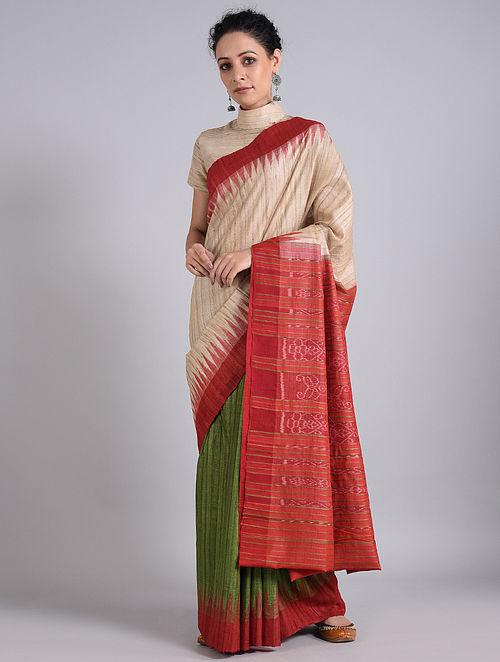 Cream-Red Handwoven Sambalpuri Ikat Tussar Silk Saree