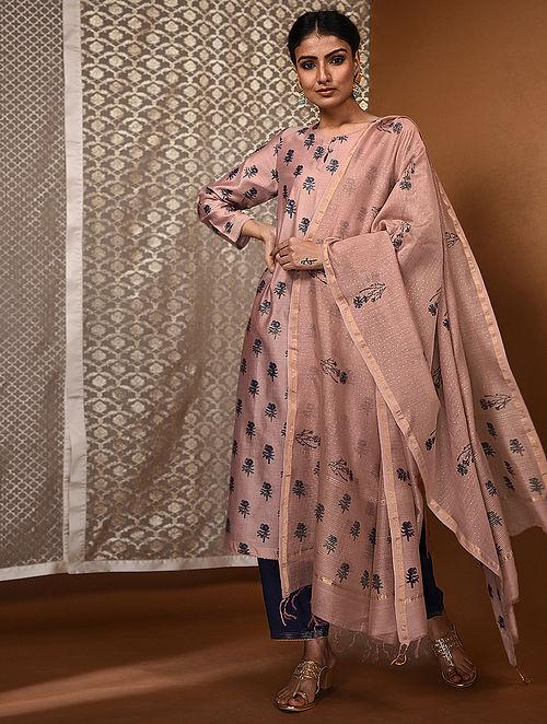 Pink-Blue Khari Block-Printed Chanderi Dupatta with Zari Border