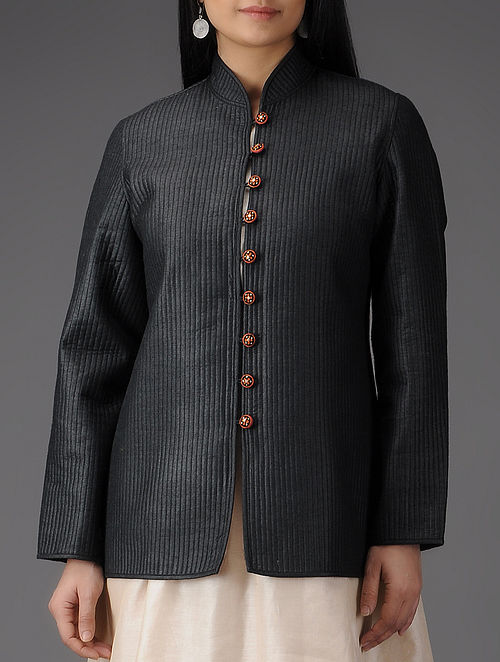 Black Quilted Muga Silk Jacket with Embroidered Buttons