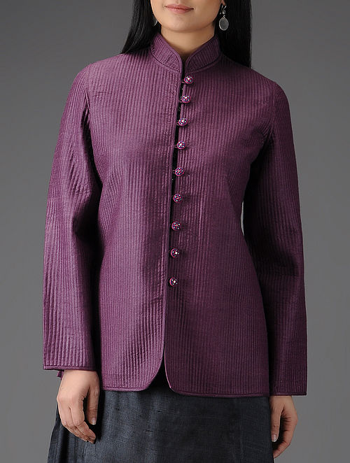 Purple Quilted Muga Silk Jacket with Embroidered Buttons