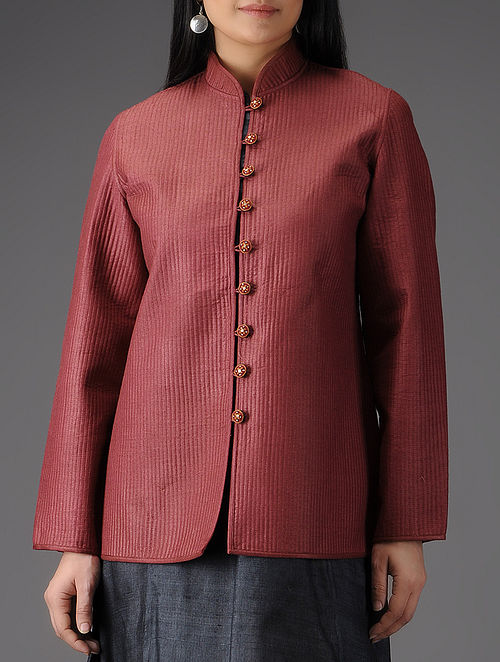 Red Quilted Muga Silk Jacket with Embroidered Buttons