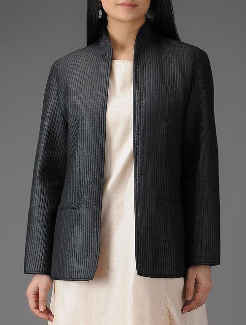 Black Quilted Muga Silk Jacket with Pockets