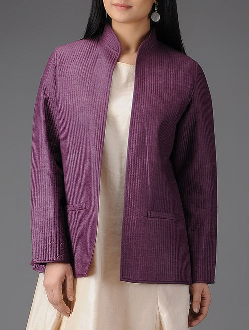 Purple Quilted Muga Silk Jacket with Pockets