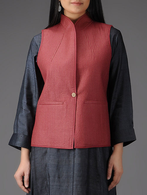 Red Quilted Muga Silk Jacket with Pockets