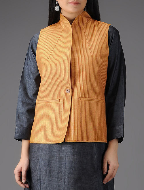Peach Quilted Muga Silk Jacket with Pockets