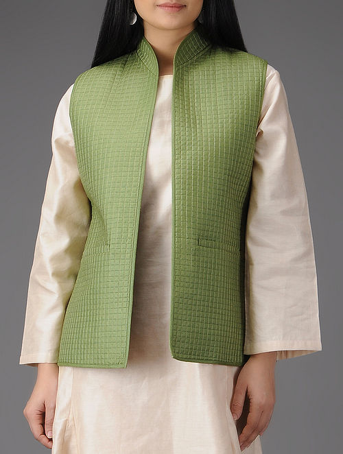 Green Quilted Muga Silk Jacket with Pockets