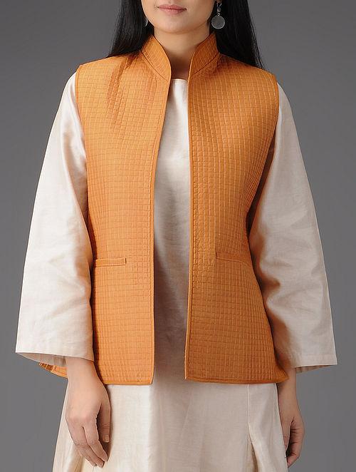 Mustard Quilted Muga Silk Jacket with Pockets
