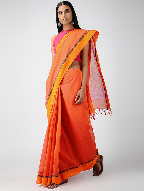1cbe21a6dd Buy Pink-Orange Cotton Saree with Woven Border Online at Jaypore ...