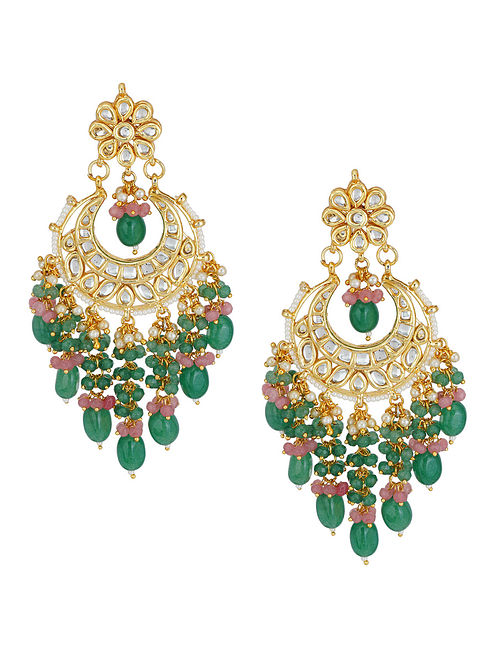 Green Pink Gold Tone Kundan Earrings