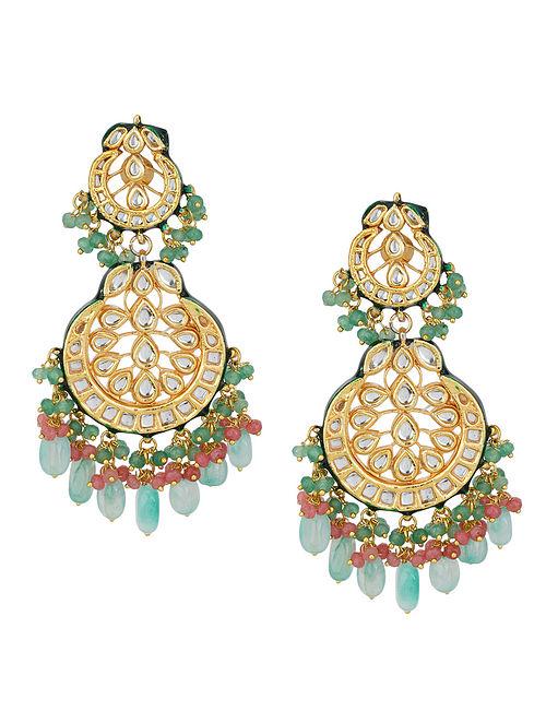 Green Blue Gold Tone Kundan Earrings