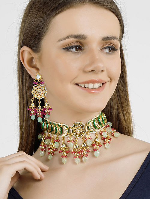 Blue Pink Gold Tone Kundan Necklace with Earrings