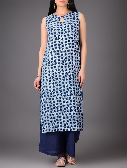 Indigo-Ivory Natural-dyed Boat Neck Cotton Kurta-L