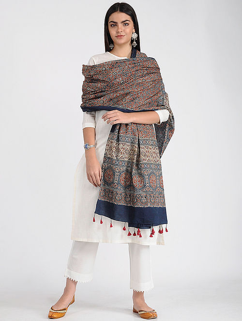 Blue-Red Ajrakh-printed Cotton Dupatta with Tassels