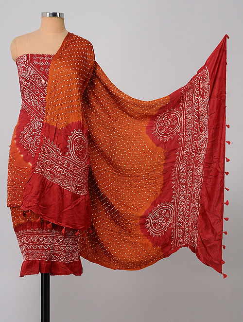 3cb6cf89aa Buy Rust-Red Bandhani Gajji Silk Suit Fabric (Set of 3) Online at ...