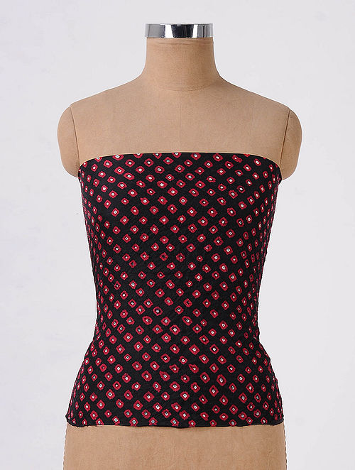 dda2217b Buy Black-Red Bandhani Mulberry Silk Blouse Fabric Online at ...