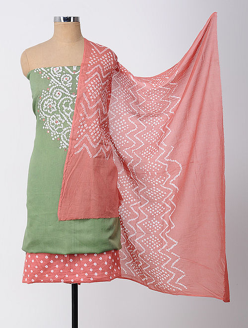 b5986dc4fc Buy Green-Pink Bandhani Cotton Suit Fabric with Mirror-work (Set of 3 ...